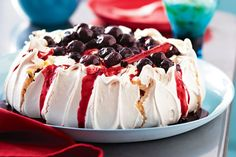 For Curtis Stone, no summer gathering is complete without pavlova. This one has been given a modern twist with a topping of passionfruit yoghurt and spiced cherries.