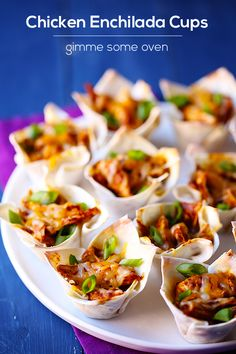 Chicken Enchilada Cups - Great app idea!  Maybe like a smaller, scaled down version of cupcake tacos.