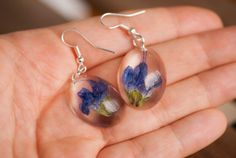 Real Flowers, Blue Flowers, Flower Earrings, Dangle Earrings, Hidden Garden, Natural Jewelry, Real Plants, Resin Jewelry, Jewelry Collection