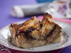 Nutella Banana Brioche Bread Pudding