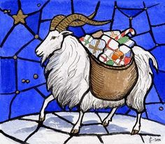 The Yule Goat is one of the oldest Scandinavian Yule symbols and traditions. Its origins might go as far backas to pre-Christian days, where goats were connected to the Norse god Thor, who rode the sky in a chariot drawn by two goats, Tanngrisnir and Tanngnjóstr, and carried his hammer Mjöllnir.