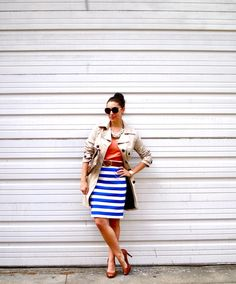 coral top, blue stripes, classic trench
