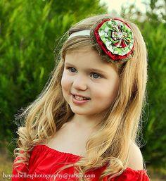 Girls Christmas Headband EVE  Red & Green by SadieBloomDesigns, $17.00
