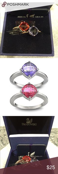 Swarovski Ring Set Swarovski Signed LEA Tanzanite ring set size 58/ US 8 Rhodium plated stackable ring set 💍. Versatile can be worn individually or as a set. Comes new in a box. Smoke free home. Swarovski Jewelry Rings