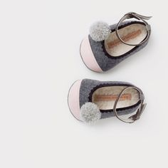 wool & leather baby ballerinas with pompoms by thesummerhouseshop, €54.00