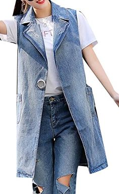 816eec1161ada2 Pandapang Womens Sleeveless Washed Plus Size Coat Jean Long Denim Vest
