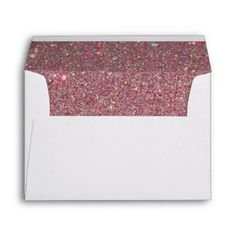 White Envelope, Pink Glitter Lined Envelope