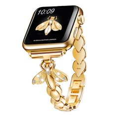 For Apple Watch Band Gold Metal White Butterfly Wristband Bee iWatch Strap Elegant Watches, Beautiful Watches, Stylish Watches, Casual Watches, Smartwatch, Apple Watch Bands Gold, Apple Band, Apple Watch Accessories, Jewelry Accessories