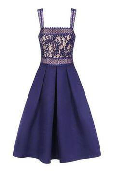 **Little Mistress Navy Crochet Lace Dress