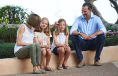 On August 03, 2015, King Felipe VI of Spain and and Queen Letizia pose with their daughters Leonor, Princess of Asturias and Infanta Sofia of Spain during the traditional photocall of the royal family at the beginning of their summer holidays at Marivent Palace in Palma de Mallorca, Balearics Islands, Spain.