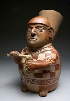 Superb Moche Seated Lord Figural Vessel