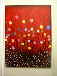 Výsledek obrázku pro kids flower art on canvas