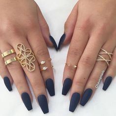 Nail polish: nails, fake nails, finger nails, cute nails, matte nail polish, matte, blue, jewels, jewelry, gold, gold ring, knuckle ring, ring, bling, dark, dark nail polish - Wheretoget