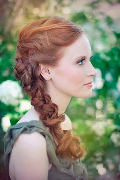 A good way to keep you hair partially down but still contained for an outdoor ceremony