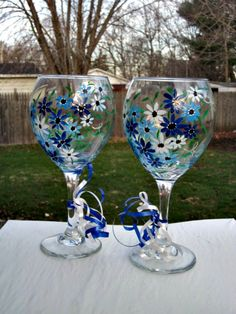 Wine Glasses Hand Painted, Jumbo Clear Wine Glass Set, Blue Flowers