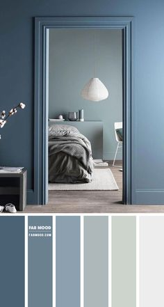 Duck Blue and Sage Color Palette for Bedroom, Beautiful color combination of Duck Blue and Sage for bedroom painting and decor ideas. Sage Color Palette, Bedroom Colour Palette, Bedroom Color Schemes, Paint Color Palettes, Paint Color Schemes, Blue Palette, Home Decor Bedroom, Living Room Decor, Bedroom Ideas