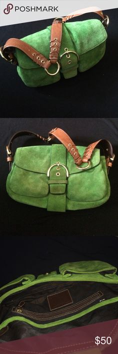 Couch Handle Bag Such a beautiful green color. Gold fixtures, leather accents. Very well made from their higher end lines. Coach Bags Shoulder Bags
