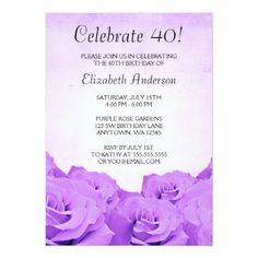 Vintage Purple Roses 40th Birthday Invitations