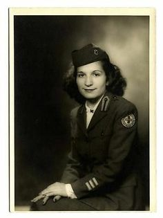 WWII Photo Army Nurse Corp Woman in Uniform w Red Cross Military Service Patch | eBay