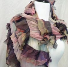 Stylish merino wool scarf in brown and pink, made in USA handmade lightweight scarf, felted shawl gift for her felted scarf fashion scarves by rafaelart on Etsy