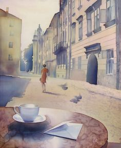 Once in the street: cityscapes - silk painting by Olena Korolyuk - ego-alterego.com