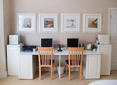 Inspiration: use two small file cabinets to support a wide desktop with a pullout keyboard shelf, creating a similar look to this, but for one