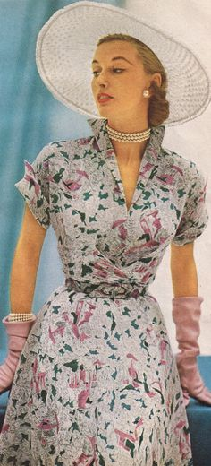 50s fashion   Lenbarry 1951 vintage fashion photo print ad models magazine color floral dress white green pink hat gloves day garden dress party full skirt short sleeves summer