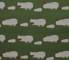Hippos - Green - Puti de Pome - Mico Ogura - Kiyohara Japanese Fabric