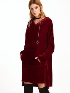 Burgundy Side Slit High Low Velvet Hoodie With Chain Drawstring