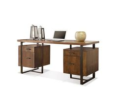 Constructed Of Walnut Veneer With Metal Legs And Framework. All Drawers Have Dovetail Joinery And Ball Bearing Extension Guides. Top Storage Drawers Have Felt-Lined Bottoms.