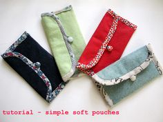 Sewing Simple Little Pouches for phones, coupons, and all that purse junk... Good tutorial!