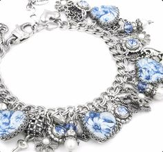 Grandma had a set of Blue Willow China that I loved. I recently created a broken china charm bracelet for a customer, her bracelet and grandma's china inspired this broken china charm bracelet with im