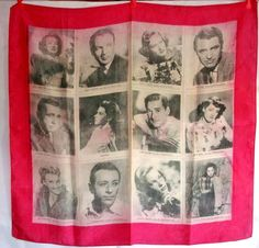 I would like this so much, I might faint. {Warner Brothers film stars silk head scarf 1940s very rare Bogart Bacall Bergman.}