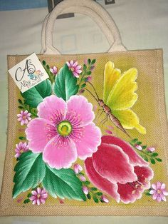 Flower Art Drawing, Fabric Paint Designs, Jute Crafts, Painted Bags, Cup Art, Floral Bags, Diy Origami, Jute Bags, Flower Tattoo Designs