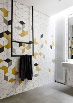 Geometric bathroom tile trend Tap the link now to see where the world's leading interior designers purchase their beautifully crafted, hand picked kitchen, bath and bar and prep faucets to outfit their unique designs.