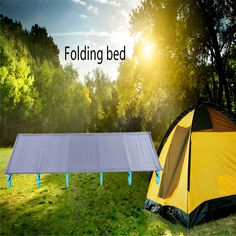 Outdoor Folding Camp Bed Camping Mat Ultralight Single Cot Sturdy Comfortable Portable Sleeping SuppliesWith Aluminium Frame