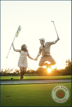 Fun engagement! Golf course Recreate this at Trophy Club!