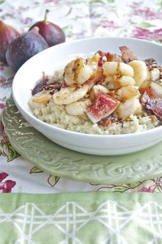 Shrimp, Bacon and Figs with Goat Cheese Quinoa