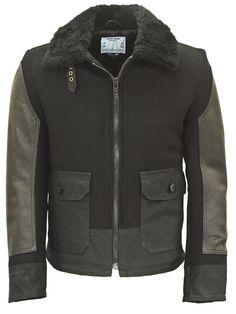 Schott Leather and Waxed Cotton Bomber Jacket Vest Jacket, Bomber Jacket, Leather Jacket, Waxed Cotton Jacket, Sheepskin Coat, Nyc, Mens Fashion, My Style, Vests