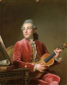 """ Portrait of a gentleman, half-length, seated in a red velvet jacket with a violin. Guillaume Voiriot (French, Oil on canvas. According to a label on the reverse, the painting. Renaissance, Red Velvet Jacket, 18th Century Costume, Rococo Fashion, 18th Century Fashion, Fine Art Auctions, Historical Art, Traditional Art, Oil On Canvas"