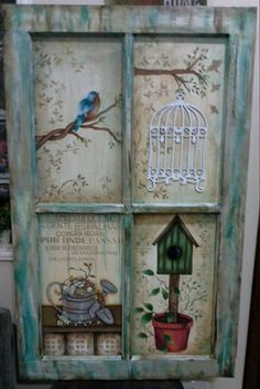 Painting On Wood Ideas Old Windows Ideas Old Windows Painted, Vintage Windows, Painted Furniture, Diy Furniture, Wood Crafts, Diy And Crafts, Old Window Projects, Window Art, Window Frames