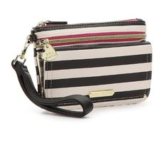 ISO Betsey Johnson Wristlet Striped Betsey Johnson Wristlet. Sold out everywhere and I love it. Has two openings with credit card slots in the back, the front is a Wristlet pouch and is gold on the inside. Betsey Johnson Bags Clutches & Wristlets