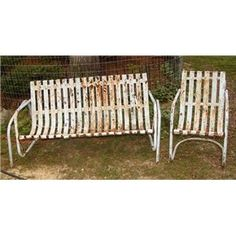 I would love to find one of these old gliders or a porch swing made out of metal straps like this. Vintage Outdoor Furniture, Metal Garden Furniture, Lawn Furniture, Furniture Redo, Vintage Porch, Vintage Metal, Old Shutters, Glider Chair, Outdoor Chairs