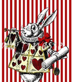 Alice in Wonderland red stripe collage sheet jpeg 300dpi digital download scrapbooking cards craft. $2.00, via Etsy.