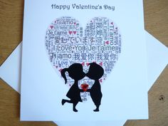 This cute Valentines card features a heart filled with I Love You in various languages and the silhouette of a couple kissing holding a red jewelled heart. The card is good quality 350gsm and comes in a cellophane bag.  You will receive 1 card and an envelope. The card is left blank inside for your own message.  Sent in a sturdy cardboard envelope to prevent bending.  Size: 6 x 6