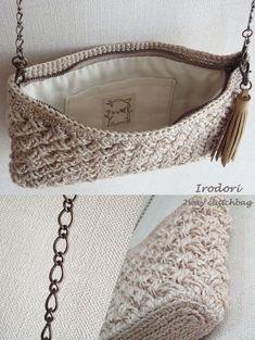 Diy Crafts - Macrame,Monogram-Bag Macrame Monogram pocket purse - Monogram inside the purse pocket macrame bag Crochet Pouch, Crochet Stitches, Knit Crochet, Loom Knit, Crochet Handbags, Crochet Purses, Diy Sac Pochette, Diy Crafts Crochet, Macrame Bag