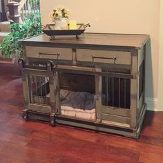 Indoor Large Dog Kennel.  Tired of your wire dog crate taking up space?  Design a custom piece with us today.  Add drawers and barn door rollers to make this a functional piece.  Pick any color and finish.  Perfect as an entry table or a great conversation piece.