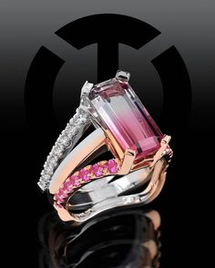 This stunning Pink to White Tourmaline Ring is from our Interlace collection. It features an Emerald Cut Bi-Color Tourmaline accented by Pink Sapphires and Diamonds set in 20K Rose Gold and Platinum. http://www.coffinandtrout.com/products/interlace-142-r41-colored-gemstones-diamonds-fashion-ring/ #coffinandtrout #jewelry