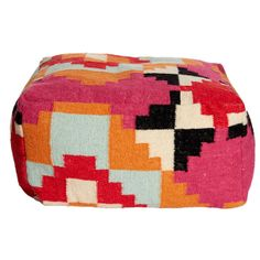 You don't need a rabbit or a wand to work some interior magic. Awash in warm colors, this wool and cotton kilim #pouf will transform a room before your eyes. Poof! Did you blink? PRICE: $229,-