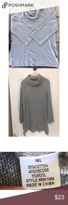 How. Very. Loved. Cowl Neck Gray Sweater Sz M/L How. Very. Loved. Cowl Neck Gray Sweater Sz M/L  55% Cotton  40% Viscose 5% Wool  ** Step into Fall with this cowl neck sweater styled with thigh high boots and your favorite leggings. ** How Very Loved Sweaters Cowl & Turtlenecks